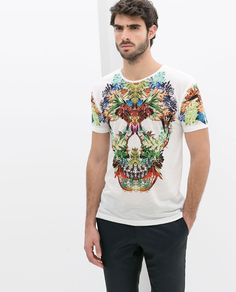 Zara - Skull T-Shirt With Flowers