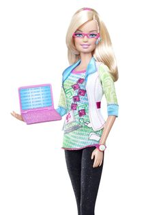 Computer Engineer Barbie Has a PhD In FUN (And Breaking Down Stereotypes)- even barbie can go a little hipster. That tee shirt has to be ironic, right? Whatevs, we love the pink glasses, bluetooth big watch and kicks