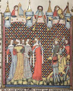 Bodl. 264. Romance of Alexander, fol. 108v. 1338-44. Jehan de Grise and his workshop. Fabric w/patterns.