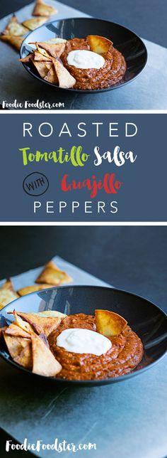 Roasted Tomatillo and guajillo pepper salsa recipe
