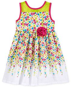 Bonnie Jean Little Girls' or Toddler Girls' Floral & Chevron Dress