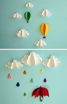 Hot Air Balloon Wall Decal, Paper Wall Art, Wall Decor, Wall Art Emet's room wall art — clouds ranging from 4 inches to 8 inches in width and two hot air balloons measuring 5 x 6 inches and x 5 inches. Paper Wall Decor, Diy Wall Decor, Paper Decorations, Diy Decoration, Art Decor, Creative Wall Decor, Creative Art, Creative Ideas, Christmas Decorations