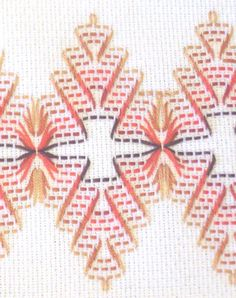 Huck Embroidery Detail - author suggests developing pattern from the picture Swedish Embroidery, Towel Embroidery, Embroidery Patterns Free, Embroidery Stitches, Stitch Patterns, Sewing Patterns, Cross Stitches, Loom Patterns, Embroidery Kits