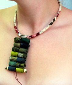 Boho chic samurai artistic wearable art fiber necklace by Gilgulim, $78.00