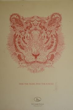 Jims Jungle Retreat Poster. Look closely and youll see the tiger is made up of different animals.