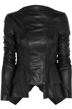 Willow jacket: black leather, collarless, long sleeves, ribbed jersey inserts at inner arm, layered frilled panels at back, handkerchief hem, fully lined. Asymmetric zip fastenings through front. Fabric1: 100% leather; fabric2: 85% viscose, 11% polyamide, 4% elastane; lining: 93% silk, 7% elastane. Specialist clean.
