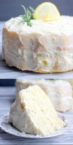 Fluffy Lemon Rosemary Cake with Lemon Cream Cheese Frosting via Baker Bettie - Cake Recipes Lemon Desserts, Lemon Recipes, Just Desserts, Baking Recipes, Sweet Recipes, Delicious Desserts, Yummy Food, Tasty, Rosemary Recipes