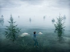 """Wake Up!  by Erik Johansson  """"She became absorbed, oblivious to the passage of time. You can pretend to be asleep, but you can't pretend to be awake."""""""