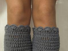 Crochet Boot Cuffs Gray Knit Boot Cuffs Leg por VANAGScreative