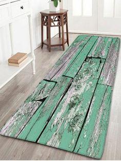 Flannel Skidproof Wood Grain Print Bath Mat