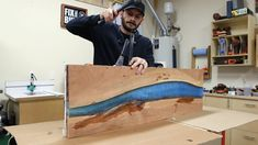 How to build a DIY epoxy resin river table with waterfall feature from a live edge slab. I'll show you how to pour thick epoxy resin pours, how to cut a waterfall joint, and how to finish an epoxy river table. Diy Resin Table Tops, Diy Resin River Table, Epoxy Table Top, Epoxy Wood Table, Epoxy Resin Table, Diy Table Top, Diy Epoxy, Wood Slab Table, Wood Tables
