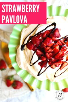 Pavlova with strawberries is an impressive, yet oh-so-easy, make ahead dessert. The meringue will be crisp on the outside and soft on the inside. Top it with sweetened whipped cream, macerated strawberries. #pavlova #glutenfree #mothersday #strawberries #easydessert #makeahead #dessert Make Ahead Desserts, Spring Desserts, Easy Desserts, Cupcake Recipes, Cupcake Cakes, Dessert Recipes, Cupcakes, Fruit Recipes, Dessert Bars