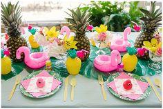 Little girl's flamingo and pineapple backyard 1st birthday party