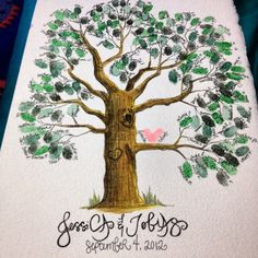 Wedding Guest Book Tree #thumbprints #thumbprinttree #weddings #weddingguestbook #guestbook