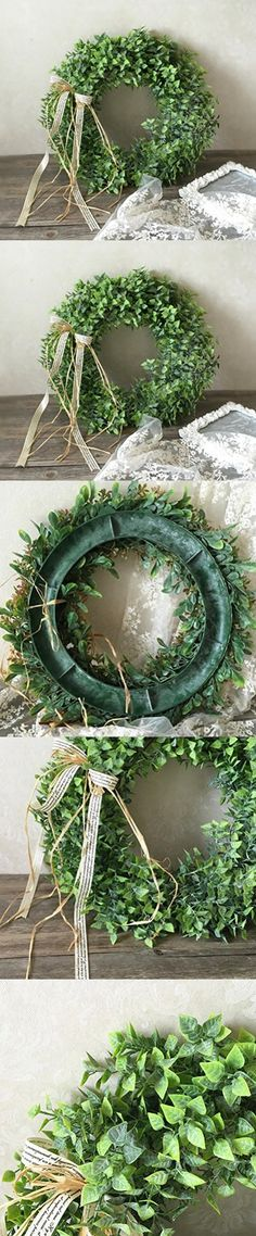 Lanlan Artificial Green Leaf Wreath with Bow Door Hanging Wall Window Decorations Wedding Favors Holiday Festival Wedding Party Supplies Three style can choose ,40cm,StyleC