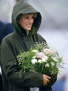 Princess Diana in her green Barbour