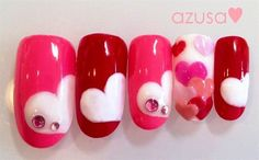 Here are some hot nail art designs that you will definitely love and you can make your own. You'll be in love with your nails on a daily basis. Get Nails, Love Nails, Pretty Nails, Hair And Nails, Valentine Nail Art, Holiday Nail Art, Valentines Hearts, Nails Decoradas, Uñas Fashion