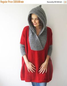 20% WINTER SALE Plus Size Sweater with Hoodie Red Gray