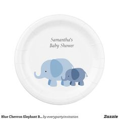 Blue Chevron Elephant Baby Boy Shower Party Plates