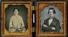"Lot     7            Two Sixth Plate Daguerreotype Wedding Portraits of a Young Man and Woman, together in a black ""Scroll"" (Krainik 326)  Union case, (minor tarnish and dust, case with a couple of small cracks and edge nicks)."