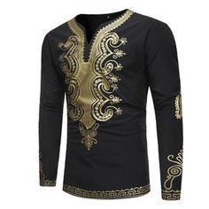 b2e5feaa11a99 African Print Dashiki T Shirt Men 2018 Brand V Neck Long Sleeve Tshirt Men  Casual Hip
