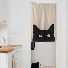KARUILU home Japanese Noren Doorway Curtain / Tapestry Width x Long with Black Cat >>> Check this awesome product by going to the link at the image. (This is an affiliate link and I receive a commission for the sales) Closet Curtains, Noren Curtains, Panel Curtains, Japanese Door, Japanese Kitchen, Japanese Teen, Doorway Curtain, Bohemian Curtains, Room Divider Walls