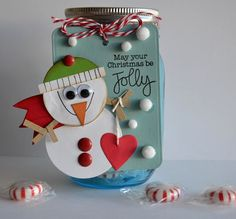 Fun idea for Christmas! Fill a jar with treats and then tie on a handmade tag. Click on the photo to go the post with the scoop on how to make this tag.