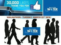 Thanks to All FB Followers to Walk for Water page for your continuous support and encouragement on Facebook. It is going to become a massive movement. Come Lets make it a Biggest Walkathon on March 22nd 2016 and Show our concern for SAVING WATER CAMPAIGN. Join Blue Revolution Club - Save Water - Take a Pledge Now.