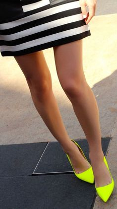Neon shoes looking good with stripes