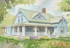 A wide front porch and a screened back porch provide plenty of space in this home for whiling away a summer afternoon