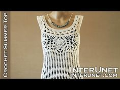 Crochet pineapple stitch tank top - lace blouse crochet pattern - YouTube