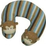 10%OFF all Monkey Themed - Cuddly Knit blue and khaki monkey travel pillow: keep baby safe and comfortable by providing a place to rest his tired head in the car seat or stroller
