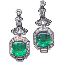 1930's Art Deco earrings with diamonds and Colombian emeralds. Look at that green!
