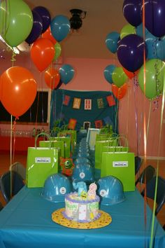 Monsters Inc Birthday Party love this idea!  i like the helmets =)