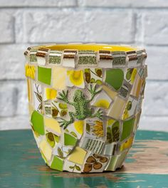 Mosaic Succulent Planter with Frog and Yellow and Green Botanical Plate Pieces One of a Kind READY TO SHIP Peace By Piece, Upcycle, Succulents, Mosaic, Recycling, Planters, Ship, Yellow, Unique Jewelry