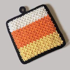 Tejido Halloween, Halloween Crochet, Halloween Candy, Halloween Crafts, Crochet Ear Warmer Pattern, Crochet Potholder Patterns, Crochet Dishcloths, Crochet Hot Pads, Cotton Crochet