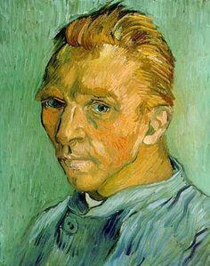 Vincent van Gogh, 1889, Zelfportret, privé collectie. Als voorloper van het expressionisme schilderde Vincent van Gogh in 10 jaar tijd ruim 900 werken, maar kreeg tijdens zijn leven maar weinig erkenning voor zijn schilderkunst. Dit zelfportret, geschilderd eind september 1889, staat te boek als één van de twee laatste zelfportretten die Vincent schilderde in Saint-Remy waar hij was opgenomen vanwege een zware depressie. Post-Impressionisme.