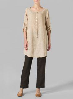 PLUS Clothing - Linen Half Button Long Top