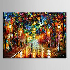 Oil Painting Decoration Abstract Night Scene Hand Painted Canvas with Stretched Framed – USD $ 59.49