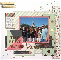 On Trend 2 Layout Disney World with Enamel Dots and gold foil - My Mind's Eye by Tamara Jensen
