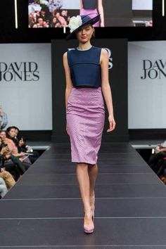 MSFW David jones spring racing 2014 - gorgeous pencil skirt totally rocks the navy hat and shorty shirt