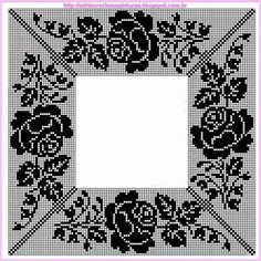Miria Crochês E Pinturas - Diy Crafts Col Crochet, Filet Crochet Charts, Crochet Motifs, Crochet Collar, Crochet Borders, Crochet Diagram, Tapestry Crochet, Thread Crochet, Irish Crochet