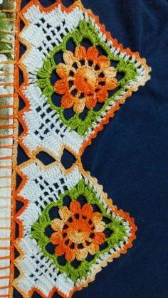 Crochet Boarders, Crochet Lace Edging, Crochet Round, Crochet Doilies, Crochet Patterns, Crochet Skirts, Crochet Tablecloth, Yarn Crafts, Hand Painted
