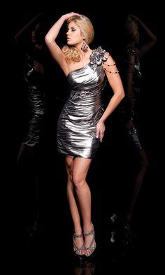 One Shoulder Ruched Metallic Dress