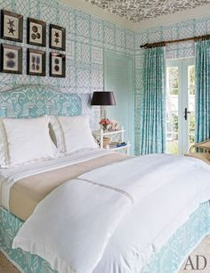 Pale turquoise and black accents - Bahamas vacation home - Miles Redd