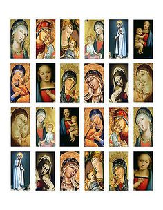 """Mother Mary Domino 1""""x2"""" Collage Sheet Print Madonna"""
