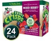 Mixed Berry Fruit Crisps, 1/2 c bags, 24-pack  Mixed Berry Fruit Crisps:  100% freeze dried berries     Our Mixed Berry Fruit Crisps are a delicious blend of freeze dried blueberries, blackberries, raspberries, and strawberries. A delicious, healthy, and convenient fruit snack for any time of day. We do not add any sugars or preservatives, our fruit crisps are 100% fruit, nothing else! Each bag contains two servings of fruit.  $23.99