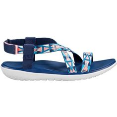 Teva Terra Float Livia Sandals, Blue/Pink ($80) ❤ liked on Polyvore featuring shoes, sandals, lightweight shoes, pink sandals, synthetic shoes, blue shoes and flexible shoes