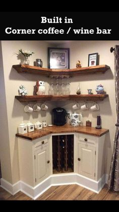 Here are 30 brilliant coffee station ideas for creating a little coffee corner that will help you decorate your home. See more ideas about Coffee corner kitchen, Home coffee bars and Kitchen bar decor, Rustic Coffee Bar. Home Projects, Interior, Kitchen Remodel, Kitchen Decor, Home Remodeling, Home Decor, House Interior, Home Coffee Stations, Home Diy