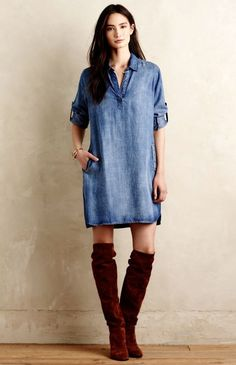 NEW Anthropologie Cloth & Stone tencel Adalie Denim Tunic Dress M $148 #ClothAndStone #offtheshouldertunic #Casual
